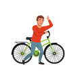 cyclist rider man with bike active lifestyle vector image vector image