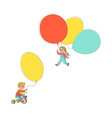 flat children with air balloons set vector image vector image