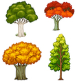 Four trees with different colors vector image vector image