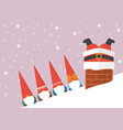 group of little santa looking at big santa stuck vector image vector image
