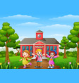 happy school children stand vector image vector image