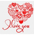 I love you and doodle heart vector image vector image
