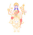 icon of goddess durga on a lion vector image vector image