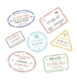 international business travel visa stamps set vector image vector image
