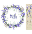 irises - wreath and single floral elements for vector image vector image