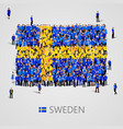 large group of people in the sweden flag shape vector image vector image
