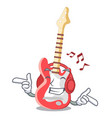 listening music character electric guitar in vector image