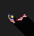 Malaysia flag map flat design vector image vector image