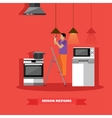 Man changing lamp bulb in kitchen vector image vector image