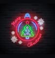 neon sign merry christmas text christmas ball vector image