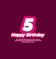 number 5 five year celebration birthday font 3d