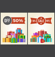 off half price sale from 10 to 90 set promo label vector image vector image