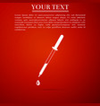 pipette icon isolated on red background vector image vector image