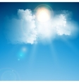 Realistic blue cloud with sun vector image vector image