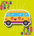 retro van car with stickers and feathers free vector image vector image