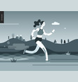 runners - girl exercising vector image