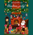 santa claus christmas fireplace and xmas gifts vector image