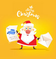 santa claus receive a letter of wish about car vector image vector image