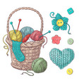 set for handmade basket with balls of yarn vector image vector image