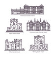 set isolated ireland landmarks in thin line vector image vector image