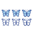 set nice blue butterflies vector image