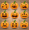 Set of 9 Halloween Pumpkins vector image vector image
