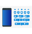 set of icon like icon follower icon comment vector image