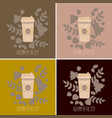 set of paper coffee cups mugs vector image vector image