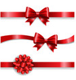 silk red bow and white background vector image vector image