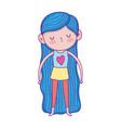 smiling little girl with long blue hair cartoon vector image