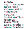 Social media in the internet - words tags vector image