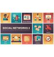 social networks - modern set of flat design vector image
