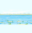spring landscape background with flood waters vector image vector image