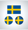 swedish trio flags vector image vector image