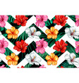tropical leaves hibiscus seamless pattern vector image