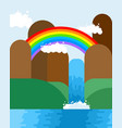 waterfall and rainbow landscape nature background vector image
