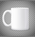 white blank mug isolated on a transparent vector image