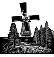 windmill landscape vector image