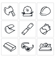 Woodworking icons vector image vector image