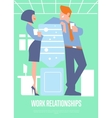 Work relationships banner with business people vector image