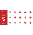 15 brain icons vector image vector image
