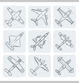 airplanes thin outline icon set vector image vector image