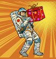 astronaut birthday with a gift vector image vector image