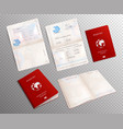 biometric passport mockup transparent set vector image