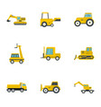 building machine icon set flat style vector image vector image