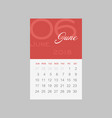calendar 2018 months june week starts sunday vector image
