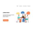 cartoon woman and man talking speech bubble vector image vector image