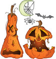 carved pumpkn jackolanterns with spider and bat vector image