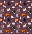 cat background seamless pattern flat kitty pets vector image vector image