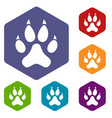 cat paw icons set hexagon vector image vector image